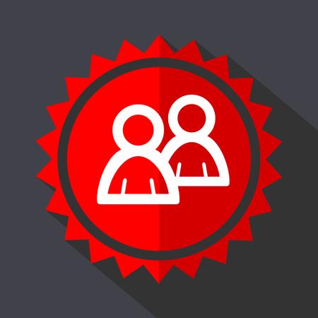 Forum red sticker flat design vector icon