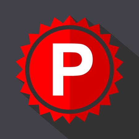 Parking red sticker flat design vector icon isolated on dark background. Illustration