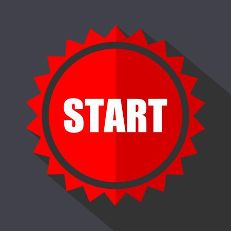 Start red sticker flat design vector icon isolated on dark background. Illustration