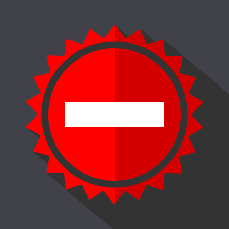 Minus red sticker flat design vector icon isolated on dark background. Illustration