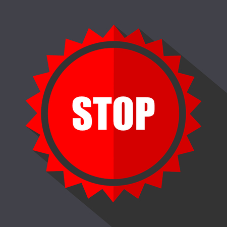 Stop red sticker flat design vector icon isolated on dark background. Illustration