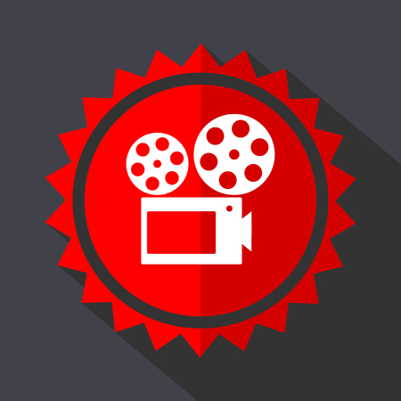 Movie red sticker flat design vector icon Vectores