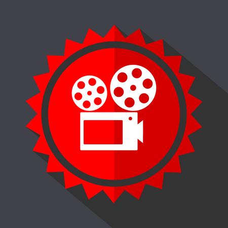 Movie red sticker flat design vector icon Vectores