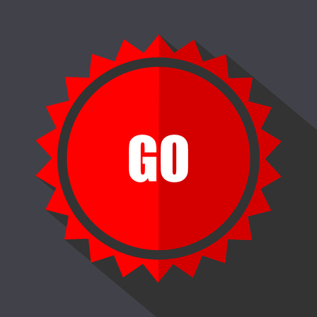 Go red sticker flat design vector icon isolated on dark background.