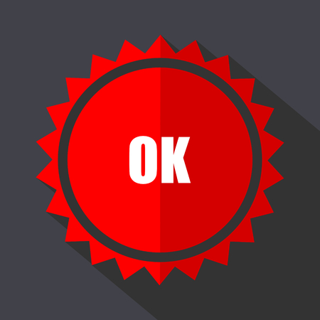 Ok red sticker flat design vector icon isolated on dark background.
