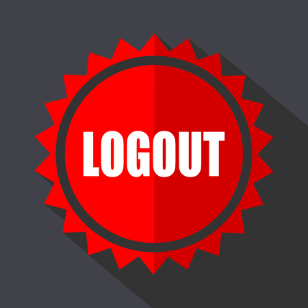 Log out red sticker flat design vector icon. Ilustrace