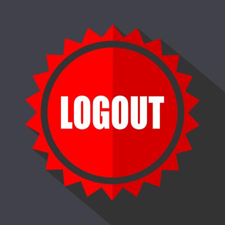 Melden Sie das flache Designvektorsymbol des roten Aufklebers ab. Vektorgrafik