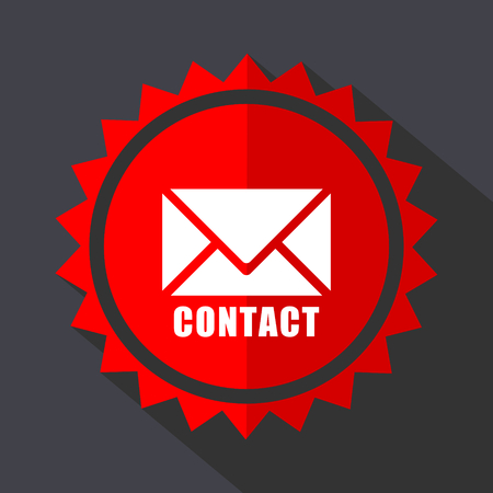 Email red sticker flat design vector icon.