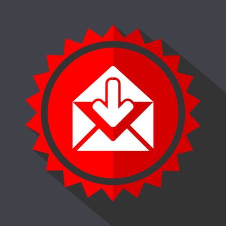 Email red sticker flat design vector icon Illustration