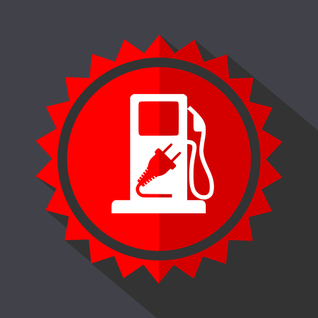 Fuel red sticker flat design vector icon
