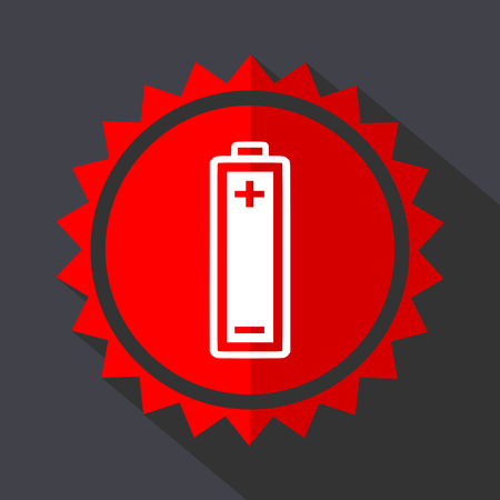 Battery red sticker flat design vector icon Illustration