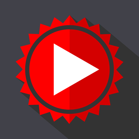 Play red sticker flat design vector icon