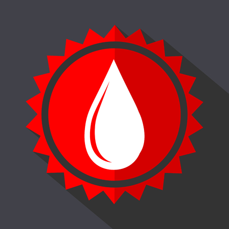 Water drop red sticker flat design vector icon