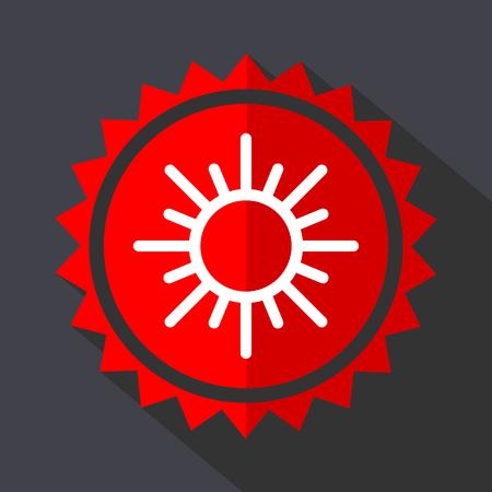Sun red sticker flat design vector icon