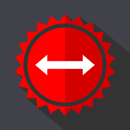 Arrow red sticker flat design vector icon