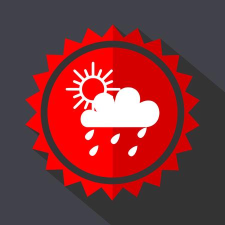 Rain red sticker flat design vector icon