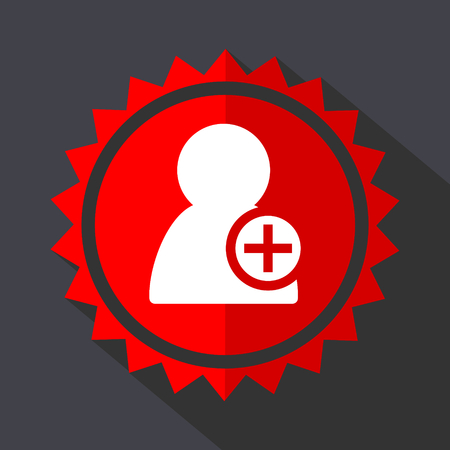 Add contact red sticker flat design vector icon Illustration