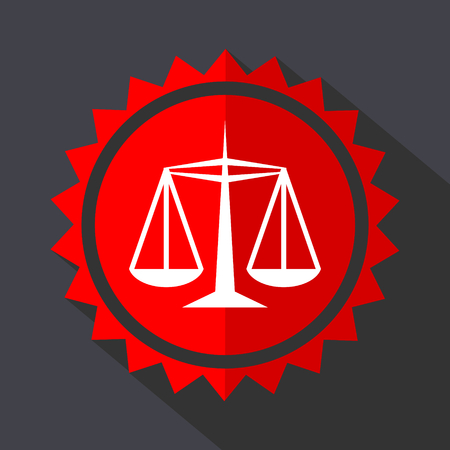 Justice red sticker flat design vector icon Illustration