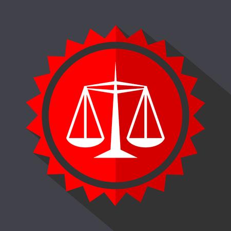 Justice red sticker flat design vector icon Illustration
