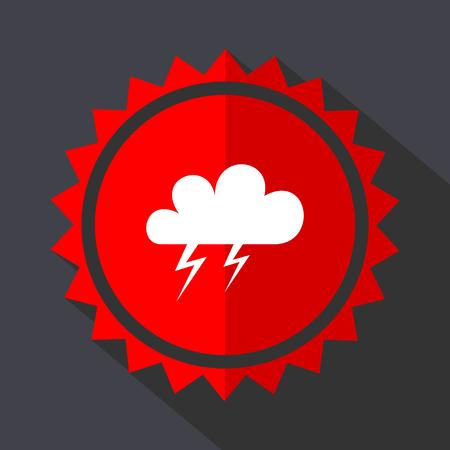 Storm red sticker flat design vector icon Illustration