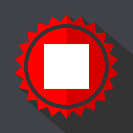 Stop red sticker flat design vector icon