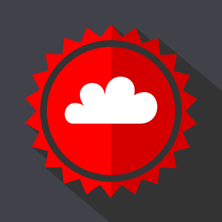 Cloud red sticker flat design vector icon