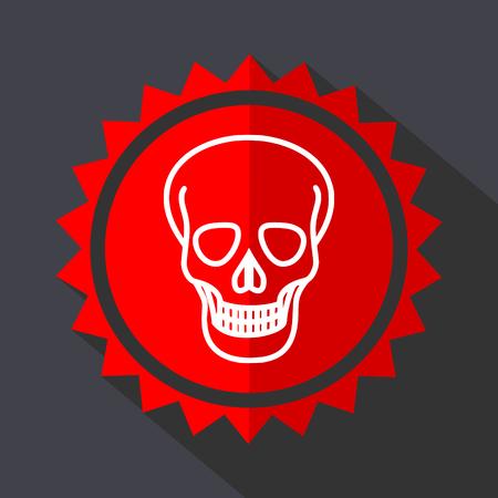 Skull red sticker flat design vector icon Illustration