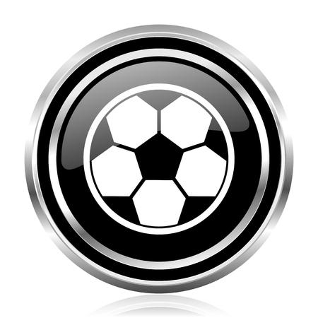 Soccer black silver metallic chrome border glossy round web icon