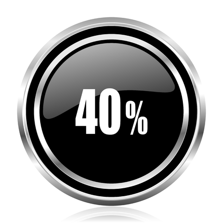 40 percent black silver metallic chrome border glossy round web icon