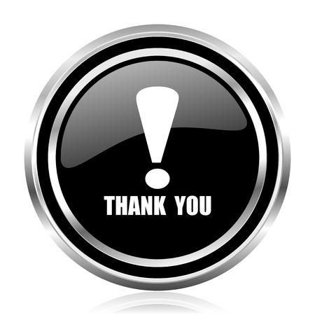 Thank you black silver metallic chrome border glossy round web icon Stock Photo