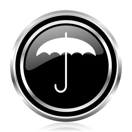 Umbrella black silver metallic chrome border glossy round web icon