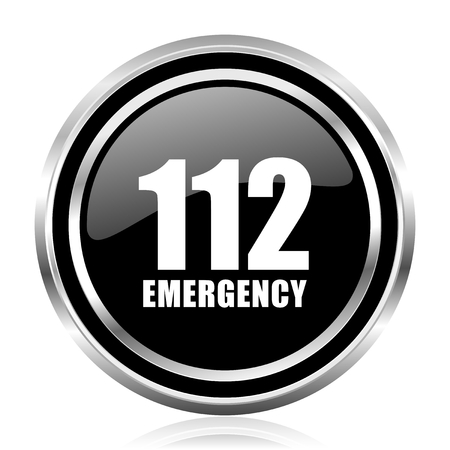 Number emergency 112 black silver metallic chrome border glossy round web icon
