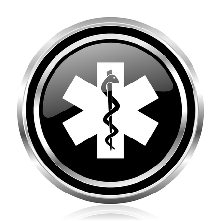 Emergency black silver metallic chrome border glossy round web icon