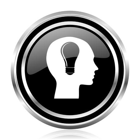 Head black silver metallic chrome border glossy round web icon