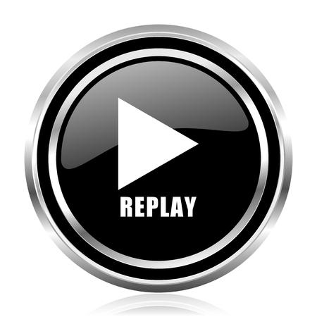 Replay black silver metallic chrome border glossy round web icon 스톡 콘텐츠