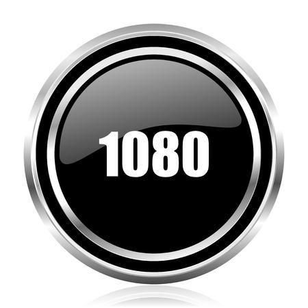 1080 black silver metallic chrome border glossy round web icon