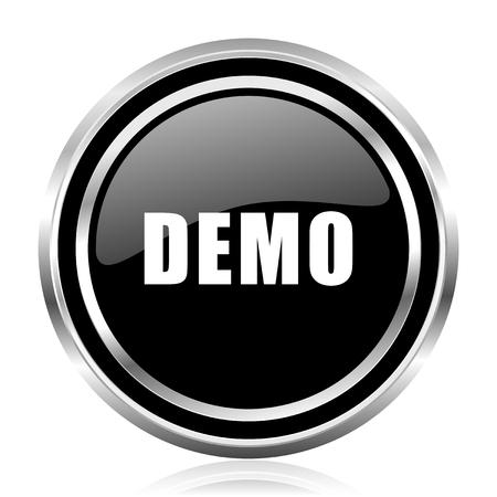 Demo black silver metallic chrome border glossy round web icon