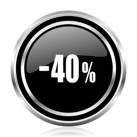 40 percent sale retail black silver metallic chrome border glossy round web icon Standard-Bild
