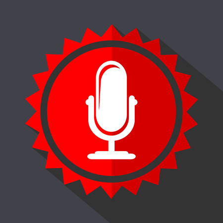 Microphone red vector sticker flat design icon Illustration