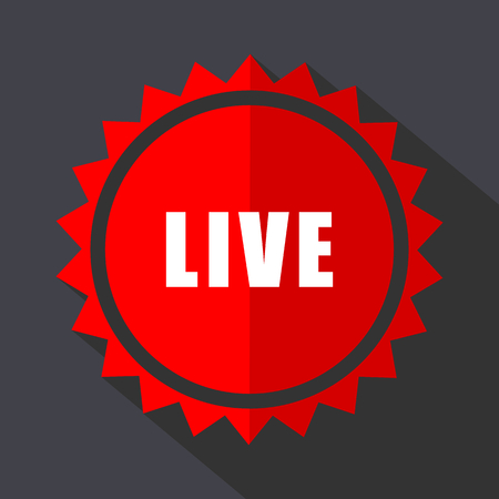 Live red vector sticker flat design icon Illustration