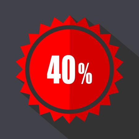 40 percent red vector sticker flat design icon