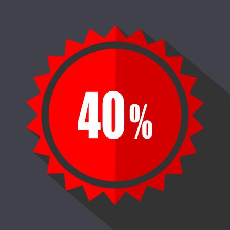 40 percent red vector sticker flat design icon