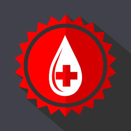 Blood red vector sticker flat design icon Illusztráció