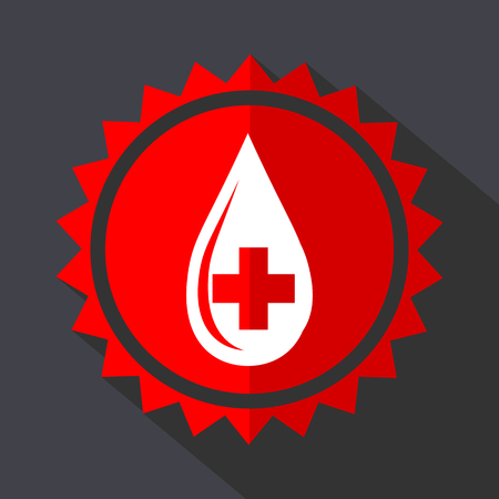 Blood red vector sticker flat design icon Illustration