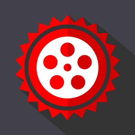 Film red vector sticker flat design icon