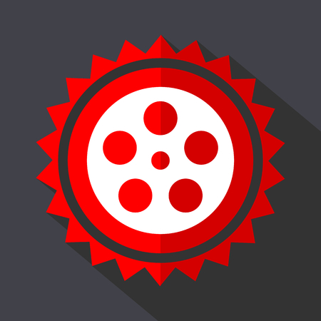 Film red vector sticker flat design icon