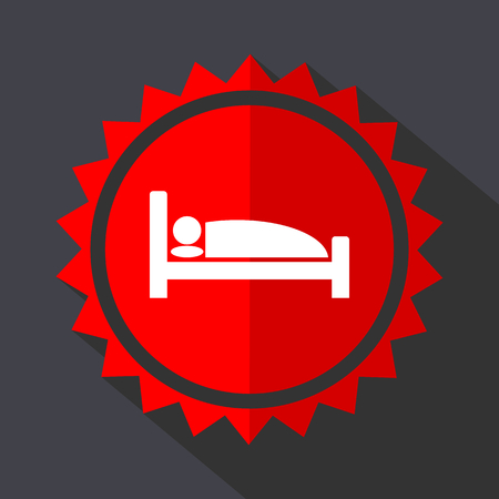 Hotel red vector sticker flat design icon Çizim