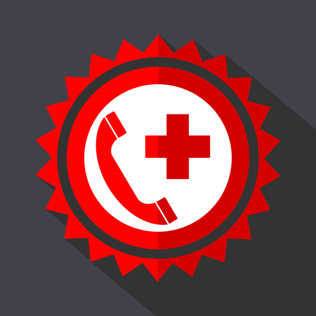 Emergency call red vector sticker flat design icon