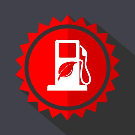 Icono de diseño plano de etiqueta de vector rojo de biocombustible