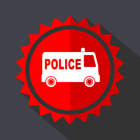 Police red vector sticker flat design icon